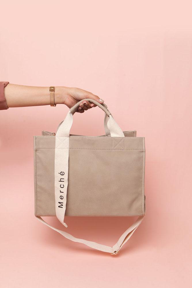tas wanita light grey